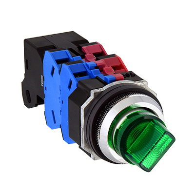 30mm TWND Series Diecast Zinc Illuminated Selector Switch 45°-3 position LED AC200/220V ASLD332620DNR