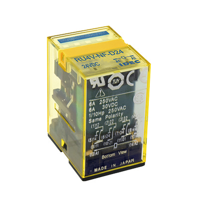 RU Series Universal Relays Bifurcated Contact PCB Terminal Without Latching Lever 4PDT Standard(without LED Indicator) 6V DC RU42V-NF-D6