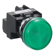 22MM YW Series Pilot Lights (with Removable Contact Block) Full Voltage Flush LED YW1P-1EQM3Y